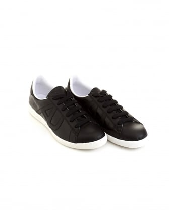 Mens Side AJ Logo Black Leather Trainers