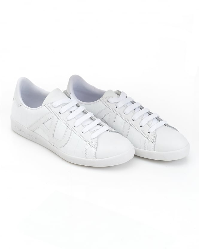 Armani Jeans Mens Side AJ Logo White Leather Trainers