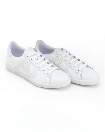 Mens Side AJ Logo White Leather Trainers