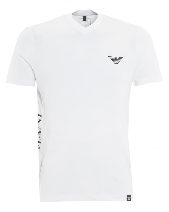Armani Jeans Mens Side Logo T-Shirt, V-Neck White Tee