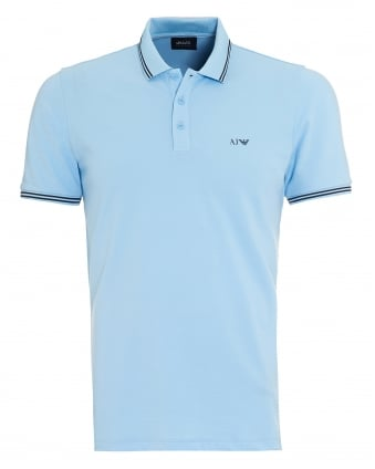 Mens Sky Blue Tipped Polo Shirt
