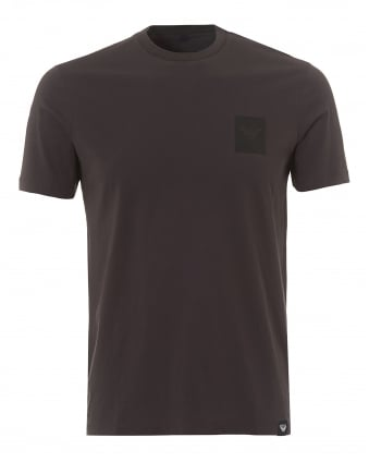 Mens Square Chest Patch T-Shirt, Stretch Cotton Grey Tee