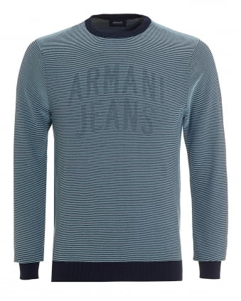 Mens Striped Knit, Logo Ribbed Blue Jumper
