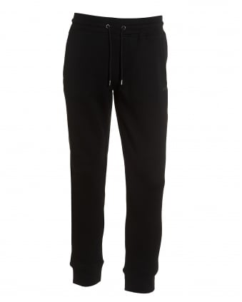 Mens Sweatpants, Cuffed Drawstring Logo Black Trackpants