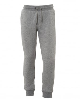 Mens Sweatpants, Cuffed Drawstring Logo Grey Trackpants
