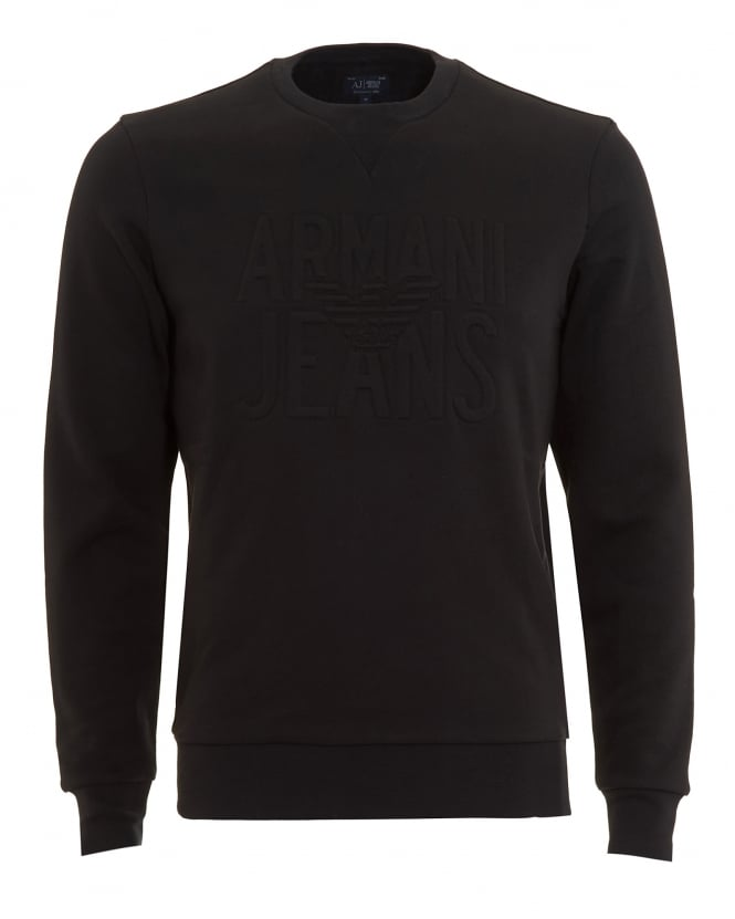 Armani Jeans Mens Sweatshirt, Black Logo Crew Neck Jumper