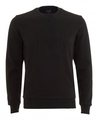 Mens Sweatshirt, Black Logo Crew Neck Jumper