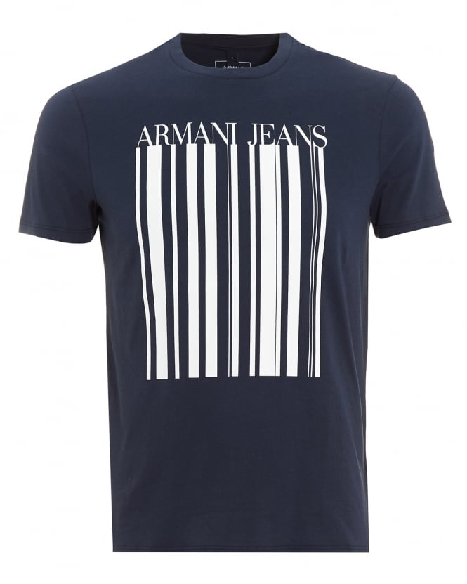 Armani Jeans Mens T-Shirt, Barcode Logo Navy Blue Tee