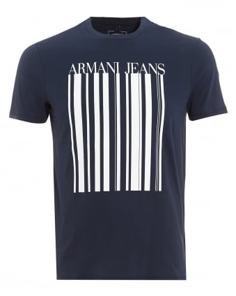 Mens T-Shirt, Barcode Logo Navy Blue Tee
