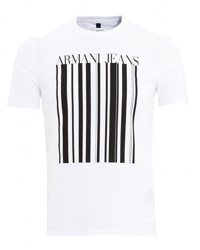 Armani Jeans Mens T-Shirt, Barcode Logo White Tee
