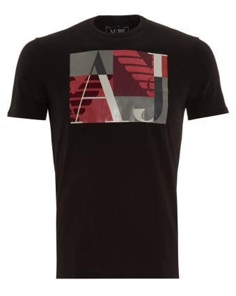 Mens T-Shirt Black Square AJ Logo Print Tee