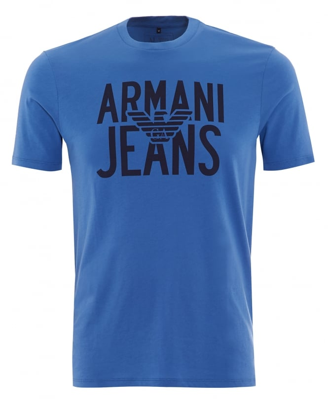 Armani Jeans Mens T-Shirt Blue Eagle Logo Printed Tee