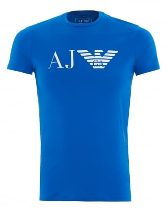 Mens T-Shirt Bluette Royal Blue AJ Eagle Logo Print Tee