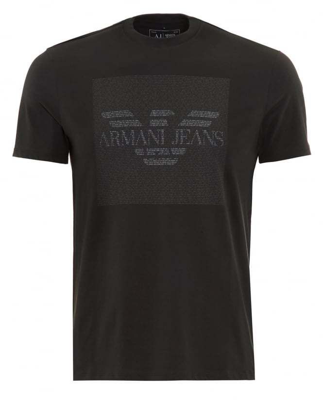 Armani Jeans Mens T-Shirt Charcoal Text Block Logo Tee