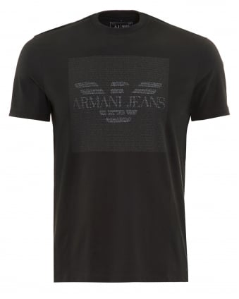 Mens T-Shirt Charcoal Text Block Logo Tee