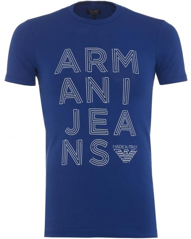 Armani Jeans Mens T Shirt Extra Slim Jersey Royal Blue Tee