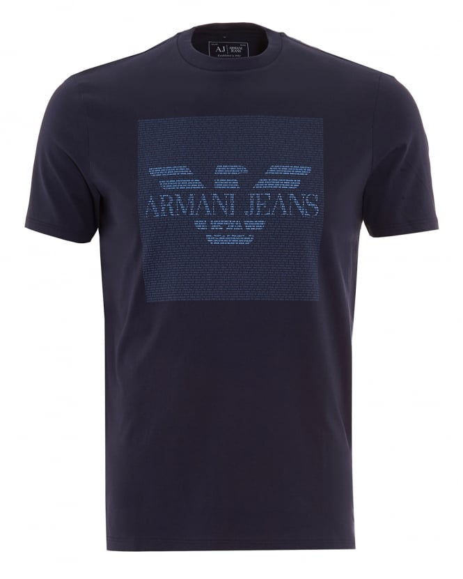 Armani Jeans Mens T-Shirt Navy Text Block Logo Tee