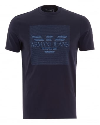 Mens T-Shirt Navy Text Block Logo Tee