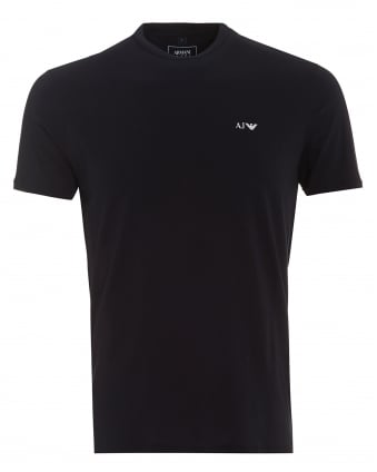 Mens T-Shirt, Plain Small Logo Navy Blue Tee