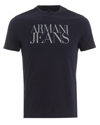Mens T-Shirt, Striped Lettered Logo Navy Blue Tee