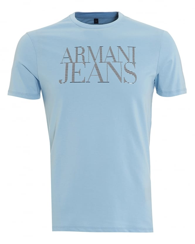 Armani Jeans Mens T-Shirt, Striped Lettered Logo Sky Blue Tee