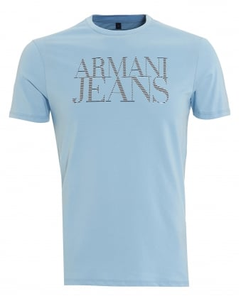 Mens T-Shirt, Striped Lettered Logo Sky Blue Tee