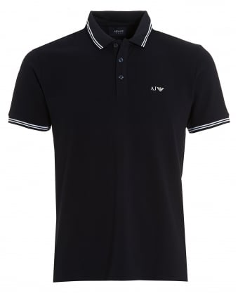Mens Tipped Polo, Modern Fit Navy Blue Polo Shirt