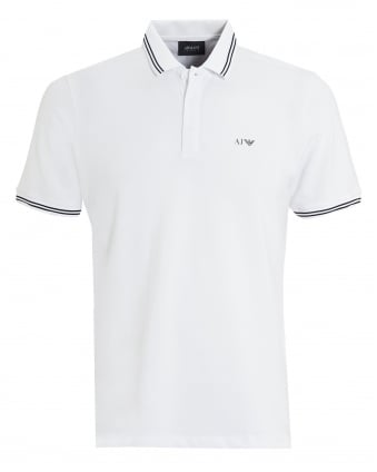 Mens Tipped Polo, Modern Fit White Polo Shirt