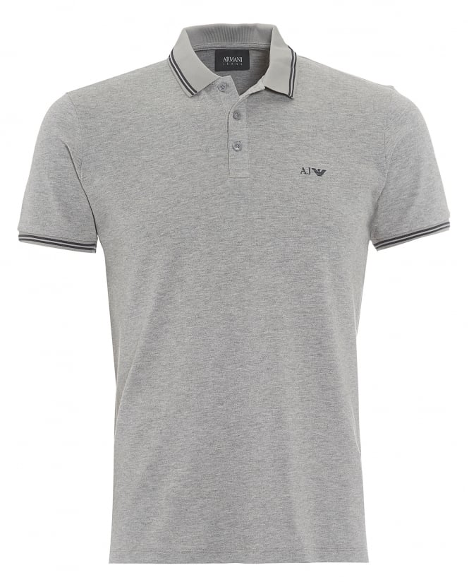 Armani Jeans Mens Tipped Polo Shirt, 3 Button Grey Polo