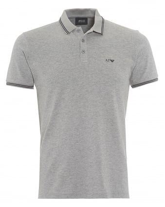 Mens Tipped Polo Shirt, 3 Button Grey Polo