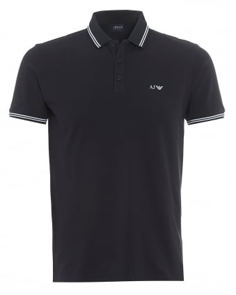 Mens Tipped Polo Shirt, 3 Button Navy Blue Polo