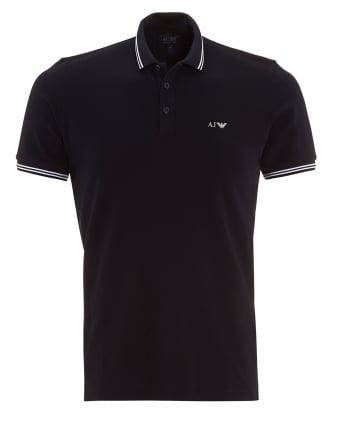 Mens Tipped Polo Shirt Navy Blue Short Sleeved Polo