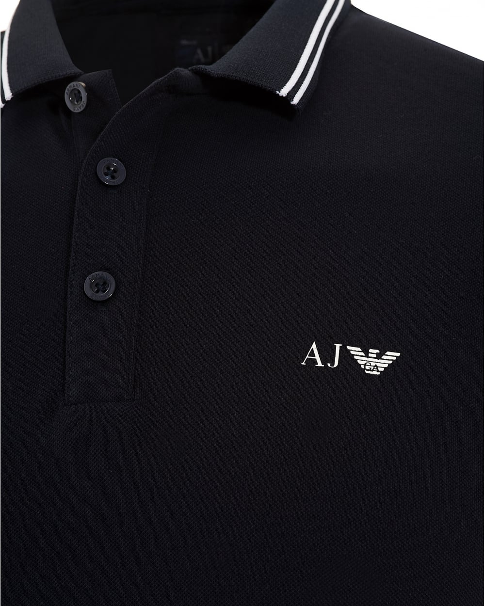 Armani Jeans Mens Tipped Polo Shirt Navy Blue Short Sleeved Polo