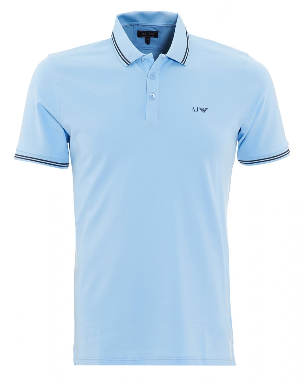 82bcfaa897297 Armani Jeans Mens Tipped Polo Shirt Sky Blue Short Sleeved Polo