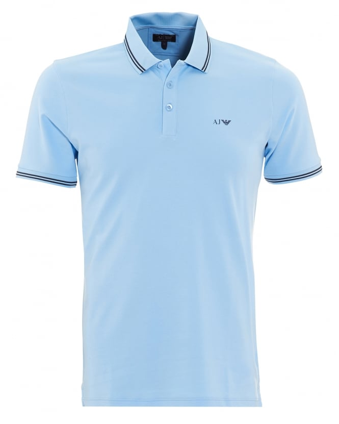Armani Jeans Mens Tipped Polo Shirt Sky Blue Short Sleeved Polo