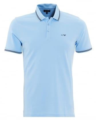 Mens Tipped Polo Shirt Sky Blue Short Sleeved Polo