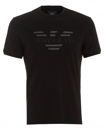 Mens Tonal Logo T-Shirt, Regular Fit Black Tee