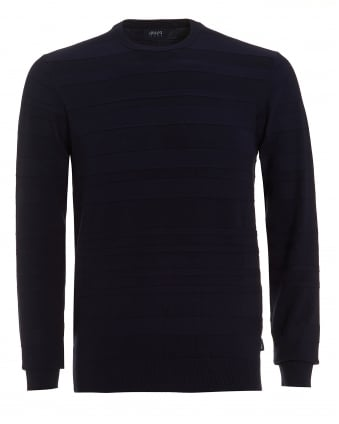 Mens Tonal Stripe Jumper, Crew Neck Blue Knit