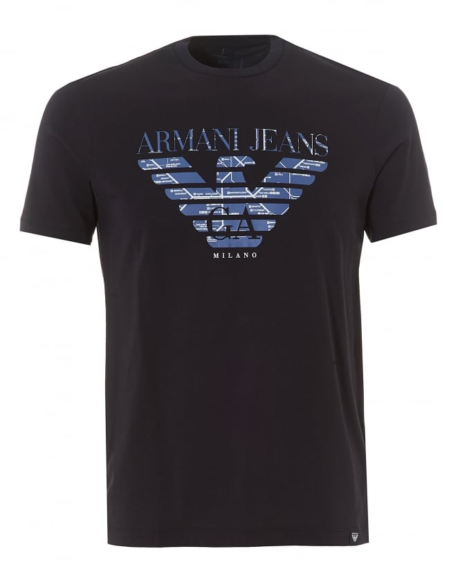 Armani Jeans Mens Tube Map T-Shirt, Eagle Logo Navy Blue Tee