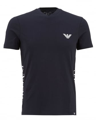 Mens V-Neck Side Logo T-Shirt, Navy Blue Tee