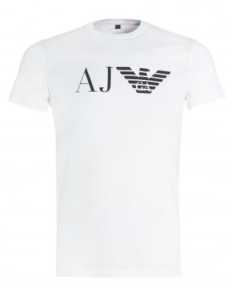 Mens White T-Shirt, Regular Fit Large Eagle Logo Tee