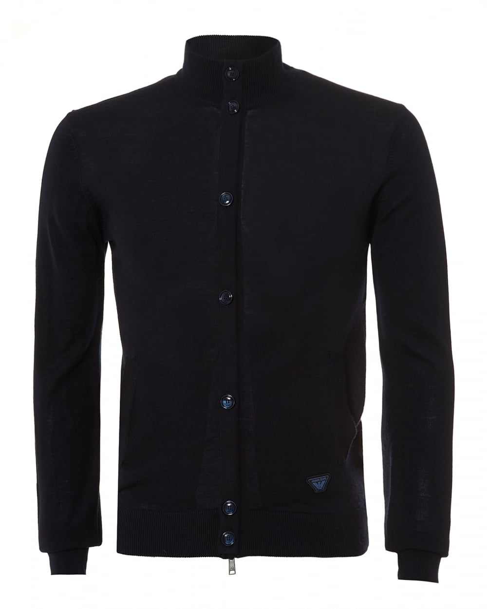Armani Jeans Mens Zip Up Cardigan, Button Detail Navy Knit