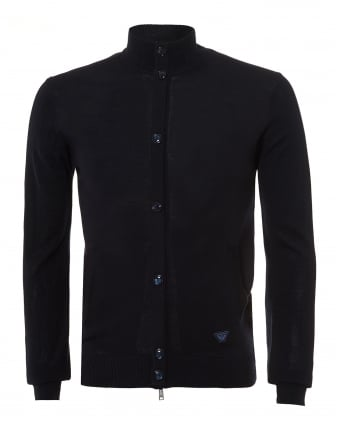Mens Zip Up Cardigan, Button Detail Navy Knit