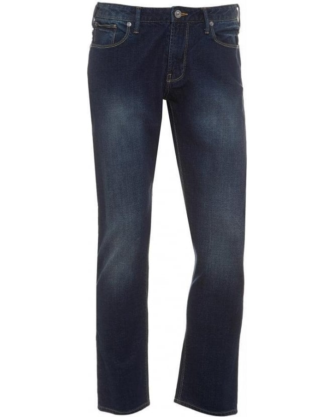 Armani Jeans Navy Blue Faded Mid Cross Slim Fit Jeans
