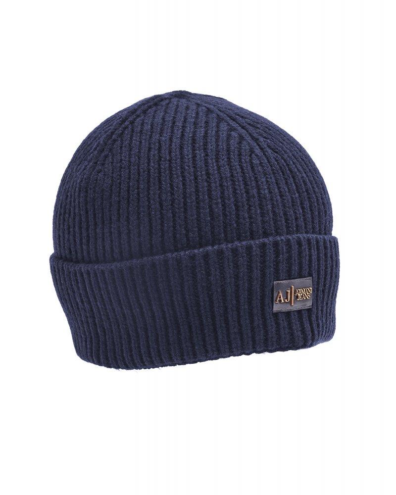 ad66e2f7f8b Armani Jeans Navy Blue Ribbed Logo Beanie Hat