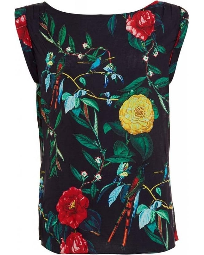 Armani Navy Multi-Coloured Floral Print Sleeveless Top