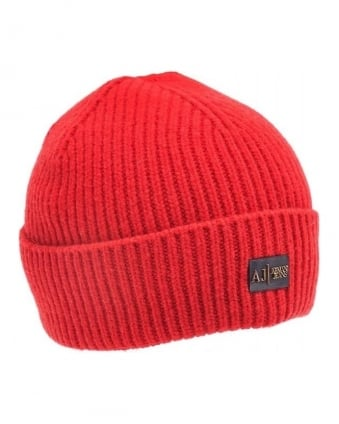 Red Ribbed Logo Beanie Hat