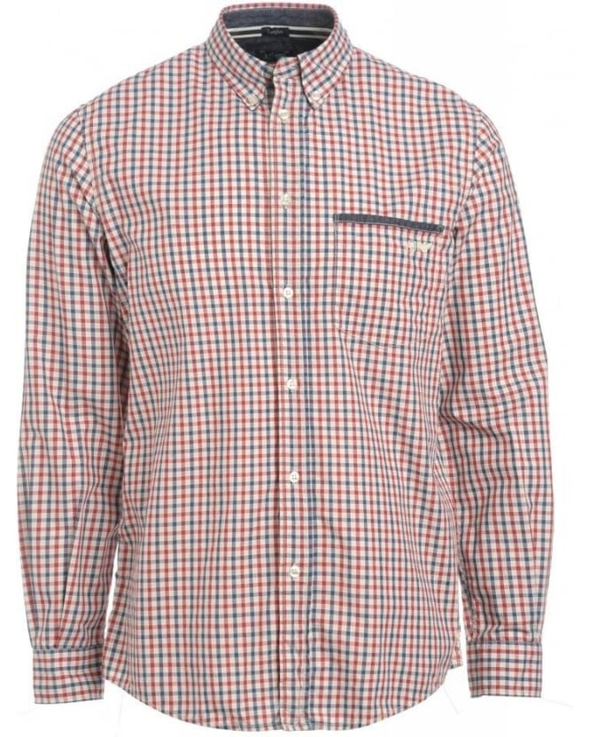 Armani Jeans Shirt, Red and Navy Checked Comfort Fit Shirt