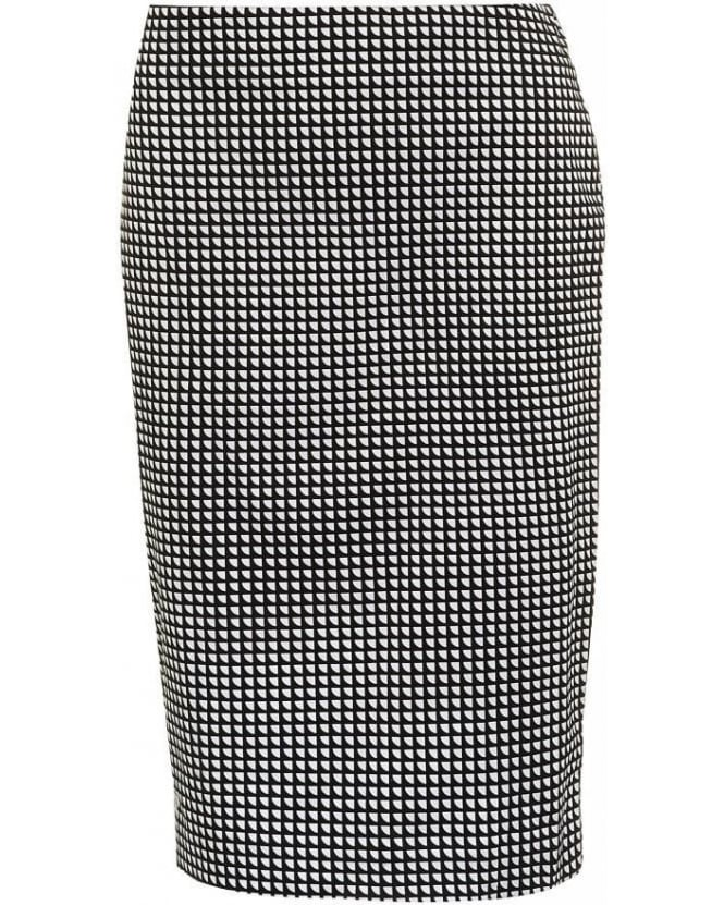 Armani Jeans Skirt Black White Geometric Pencil Skirt