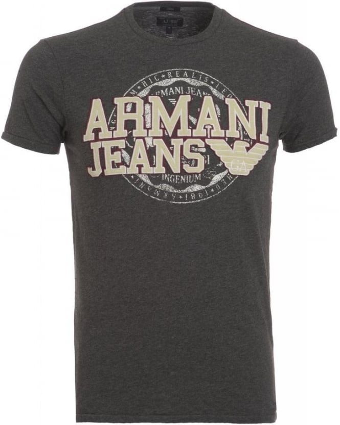 Armani Jeans T-Shirt, Grey Slim Fit Tee With Applique Chest Logo